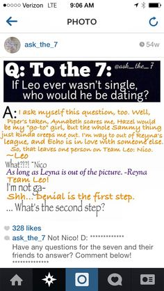 Instagram ask the 7 OH MAH GOSHES. NO LEO OH MAH GOSHES NO. AND NICO IS LYING. WE ALLL KNOW THAT.