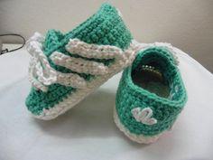 Zapatillas, Bebé, Deportivas, Ganchillo, Algodón, Color verde, Color blanco…