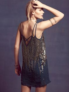 Free People Embellished V Shift Dress at Free People Clothing Boutique