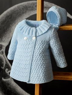 Beautiful Coat - Free Knitting PatternRiver Otter Knitting Pattern for Shirley Bear - Available again thanks to Deramore's! Crochet Dress Girl, Crochet Baby Cardigan, Crochet Coat, Knitted Coat, Crochet Jacket, Baby Knitting Patterns, Knitting Designs, Baby Patterns, Free Knitting