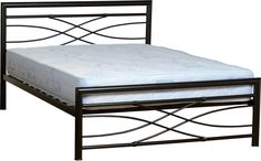 The glamourous Tyler bed frame is constructed from high quality metal tubing with a glossy black finish. Steel Bed Frame, Steel Frame House, Iron Furniture, Steel Furniture, Steel Bed Design, Cama Vintage, Steel Sofa, Convertible Furniture, Wrought Iron Beds