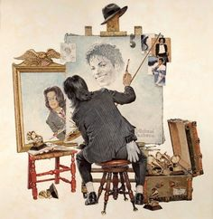 Michael Jackson & Norman Rockwell Picture (little known fact: Michael was an amazing artist and had he lived, he'd probably be doing just this. I think he would have loved this picture of him).