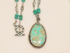 Vintage Turquoise Pendant, Turquoise beaded Necklace