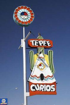 Route 66 Through Tucumcari (Tonight!) New Mexico - Neon Signs, Motels, Tepee Curios
