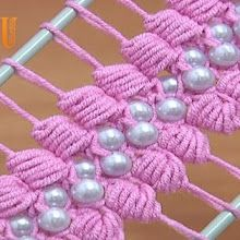 Hairpin Lace Crochet Tutorial 38 The Puff Stitch Beaded Strip - http://pinter...