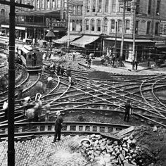 Intersection at Marietta and Broad closed for streetcar line construction in Georgia Usa, Atlanta Georgia, Georgia State University, Douglas County, Ga In, Civil War Photos, Local History, American Civil War, Vintage Pictures