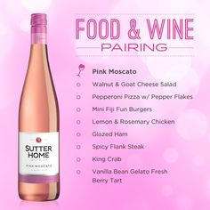 Pink Moscato, Food And Drinks, Sutter Home Pink Moscato makes a great pairing with almost any meal. Wine Cheese Pairing, Wine And Cheese Party, Wine Tasting Party, Food Pairing, Wine Drinks, Alcoholic Drinks, Beverages, Cocktails, Wine Paring