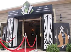 Great Gatsby Roaring 20s entrance with red carpet. Great way to welcome your guests.