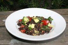 Black Quinoa, Tomato, Basil, Avocado Salad!  Have at least one day a week meatless!  Beans and quinoa are loaded  http://www.facebook.com/metamorphosisbodymindspirit  with protein. www.metamorphosisbodymindspirit.com