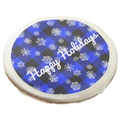 Snowflake Buffalo Plaid Blue l Happy Holidays Sugar Cookie - simple clear clean design style unique diy