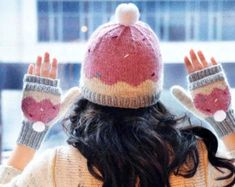 """""""Sweeter Than a Cupcake"""" Hat and Fingerless Mitten Set in Girls and Adult Sizes pattern by Lauren Riker Knit Mittens, Knitted Hats, Mittens Pattern, Loom Knitting, Knitting Patterns, Knitting Ideas, Knitting Projects, Baby Knitting, Crochet Patterns"""