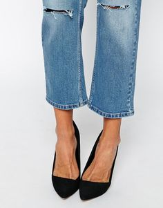 Image 3 of ASOS Thea Midrise Girlfriend Jeans in Miami Vintage Blue with Displaced Knee Rips