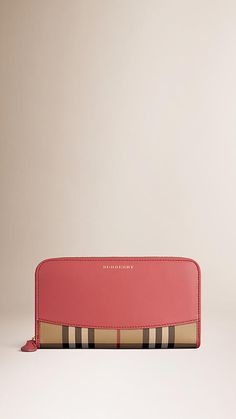 Coral pink Horseferry Check and Leather Ziparound Wallet - Image 1