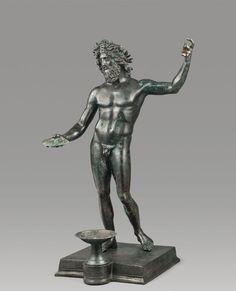 Una gran figura de pie de bronce de Zeus / Poseidon en la base original.  Romano, ca primero - segundo siglo AD.  |  Fortuna Bellas Artes: