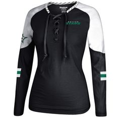 Women's Dallas Stars Reebok Black/White Lace-Up Long Sleeve Hockey Top
