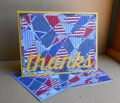 """handmade quilt card: big thanks by tessaduck  ... die cut GLass Effects looks lke a crazy quilt in blue prints with red and white ... huge die cut """"thanks' ..."""