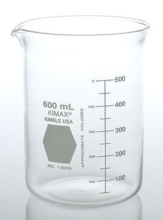 Beaker. No lab would be complete without beakers. Beakers are used for routine measuring and mixing in the lab. They are used to measure volumes to within 10% accuracy. Most beakers are made from borosilicate glass, though other materials may be used. The flat bottom and spout allow this piece of glassware to be stable on the lab bench or hot plate, plus it's easy to pour a liquid without making a mess. Beakers are also easy to clean.