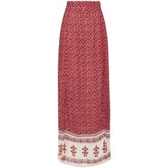 TOPSHOP **Printed Slit Maxi Skirt by Glamorous ($45) ❤ liked on Polyvore featuring skirts, rust, long maxi skirts, long bohemian skirts, long boho skirt, slit maxi skirt and topshop