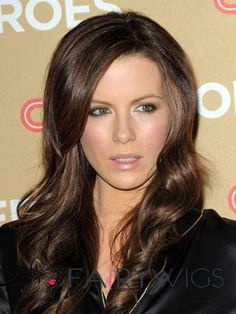 Special Cool Long Wavy Sepia Human Hair Wigs