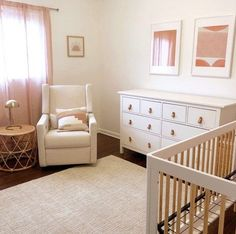 This convertible crib with toddler bed conversion kit is a playful yet modern nursery option.