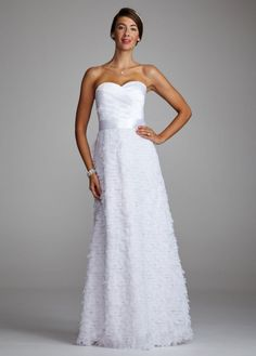 3450e446505 Charmeuse Gown with Floral and Pleated Detail - David s Bridal - mobile  Affordable Wedding Dresses