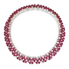 18 Karat Two-Color Gold, Ruby and Diamond Necklace, Garrard & Co., London | lot | Sotheby's