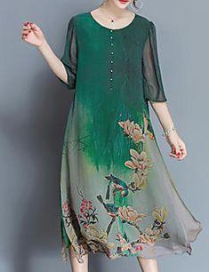 ae368b3df7e Femme Fleur Grandes Tailles Chinoiserie Midi Ample   Mousseline de Soie Robe  - Imprimé