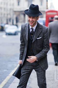 Menswear: window pane suit