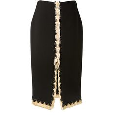 Lanvin Black Crepe Fringed Skirt ($1,465) ❤ liked on Polyvore featuring skirts, mid-calf skirt, front slit skirt, calf length black skirt, lanvin and black midi skirt