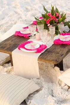 Fiery Flamingo Pink Beach Tablescape