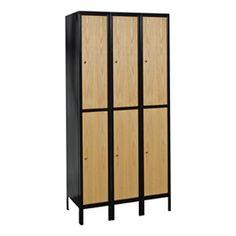 Wood/Metal Hybrid Three-Wide Double-Tier Lockers