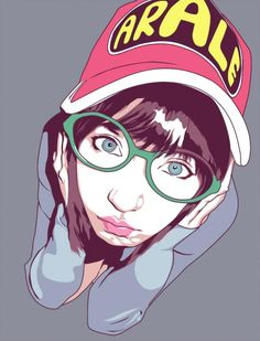 Beautiful vector portrait. The girl's eyes really stand out, and the glasses help with this. Cool perspective to draw from as well, shows alot of emotion. Love the reflection on the hair as well