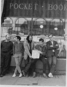 Lawrence Ferlinghetti, Gary Goodrow, Allen Ginsberg, Charlie Plymell, Philip Whalen in front of City Lights, August 1963