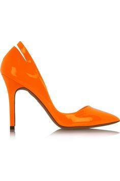 McQ Alexander McQueen|Cutout pointed patent-leather pumps|NET-A-PORTER.COM