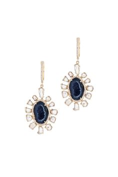 Kai Linz 14K Yellow Gold Geode & Diamond Slice Earrings