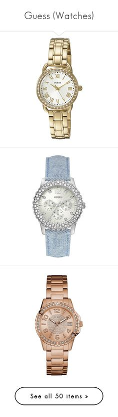 """Guess (Watches)"" by arasshjit ❤ liked on Polyvore featuring jewelry, watches, guess jewelry, quartz movement watches, yellow gold watches, dial watches, gold wrist watch, silver dial watches, stainless steel watches and druzy jewelry"