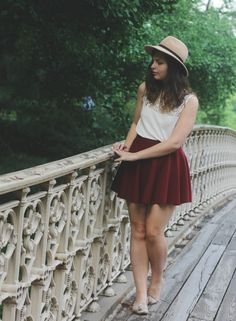 circle skirt + @brandymelville hat + tassel loafers for a perfect outfit in Cental park.
