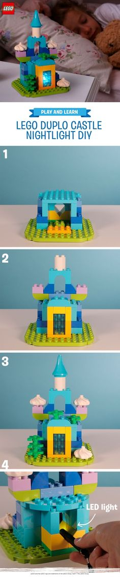 This is a cool creation to try with your little one for their next sleepover or as a fun activity to help children wind down before bed. Youll need a selection of LEGO DUPLO bricks - just make sure you have a few transparent ones so your child can really enjoy the nightlight effect. Let their imagination run wild they could build a castle a volcano or a glowing dragons lair. Use a battery powered LED light to make it glow and voila!
