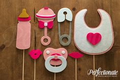 Items similar to 7 Baby Girl Props Baby shower props? Pink Baby Shower Props on Etsy - Babydusche Moldes Para Baby Shower, Regalo Baby Shower, Idee Baby Shower, Baby Boy Shower, Baby Shower Gifts, Baby Shower Props, Baby Shower Photo Booth, Baby Girl Cards, Baby Must Haves