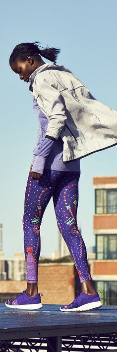 Nike tights and sneakers. Running clothes and shoes are not just for running, get your money's worth! And be comfortable:)