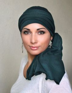 Turban Head Wrap Alopecia Chemo Head Scarf Forest Green Jersey, Hat & Scarf Set