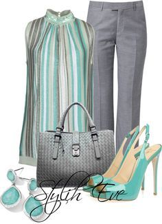 Grey and teal work fashion attire Classy Outfits, Chic Outfits, Summer Outfits, Fashion Outfits, Womens Fashion, Fashion Trends, Business Outfits, Business Fashion, Business Attire