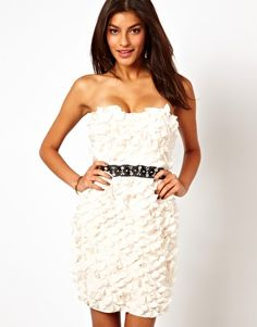 407483a016 Lipsy VIP 3D Flower Dress with Waistband Detail at asos.com