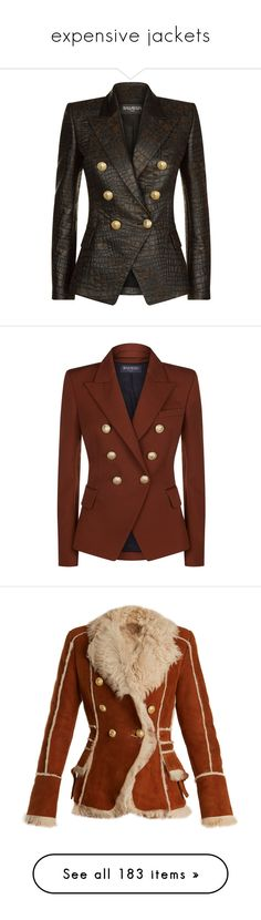 """expensive jackets"" by mrstomlinson974 on Polyvore featuring outerwear, jackets, blazers, double-breasted blazer, slim fit blazer, padded shoulder blazer, tailored blazer, balmain blazer, woolen shawl and balmain jacket"