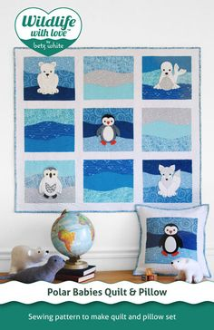 Polar babies Quilt and Pillow are part of the Wildlife with Love™ sewing pattern collection featuring endangered species. For intermediate skill sewers. Animal Quilts, Animal Pillows, Quilt Patterns, Sewing Patterns, Quilting Ideas, Quilting Projects, Quilting 101, Patch Aplique, Felt Applique