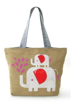 "Cute Tote bag features two elephants having a grand old time! 12"" tall X 16"" wide Bag features: - flat bottom (5"" wide) -11"" handle drop -quality printed design with vinyl stitched embellishments -1 zippered interior pocket -secured zippered closure with interior lining   Elephant Love Tote by Far Nine. Bags - Totes Portland, Oregon"