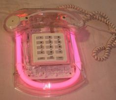 NIB Vintage Neon light TelePhone , Sheila phone by Cicena , NIB. Aesthetic Bedroom, Retro Aesthetic, Retro Room, Vintage Phones, Everything Pink, Vaporwave, Wall Collage, Aesthetic Pictures, My Room