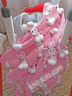 Crochet blanket with bunnies--  blanket is adorable- creepy stuffed animal-not!