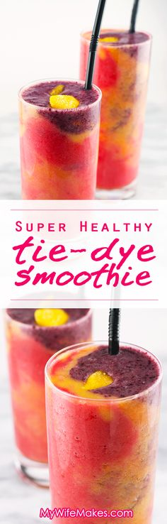 Tie-Dye Smoothie Super Healthy 'Tie Dye' Fruit Smoothie - 4 delicious coconut water based fruit Smoothies in one colorful glass!Super Healthy 'Tie Dye' Fruit Smoothie - 4 delicious coconut water based fruit Smoothies in one colorful glass! Cocktails, Non Alcoholic Drinks, Fun Drinks, Yummy Drinks, Healthy Drinks, Beverages, Smoothie Vert, Juice Smoothie, Smoothie Drinks