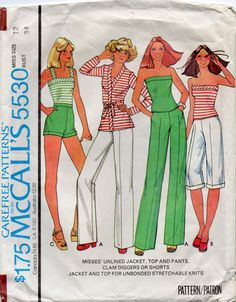 1970s McCalls 5530 Misses Summer Jacket Top Shorts Pants and Clam Diggers Pattern  Womens Vintage Sewing Pattern Size 12 Bust 34. $4.00, via Etsy.